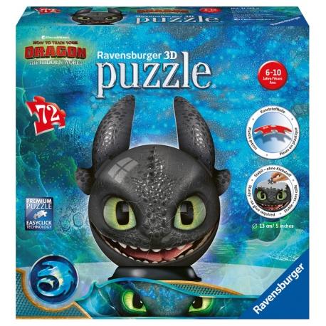Dragons 3 Ohnezahn mit Ohren - 3D Puzzleball
