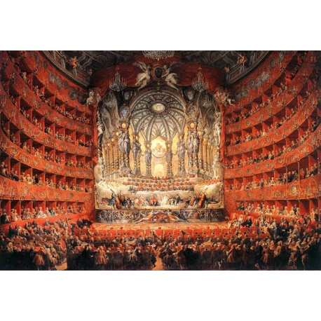 Musical feast given by the cardinal de La Rochefoucauld - Giovanni Paolo Pannini